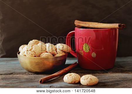 Cocoa With Cinnamon And Cookies Ametarro Italian Sweets