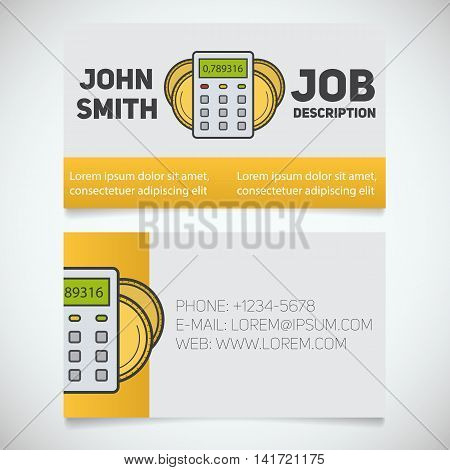 Business card print template with calculator and coins logo. Easy edit. Financier. Accountant. Businessman. Stationery design concept. Vector illustration