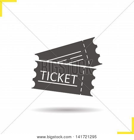 Tickets icon. Drop shadow silhouette symbol. Cinema, flight, sport event tickets. Negative space. Vector isolated illustration