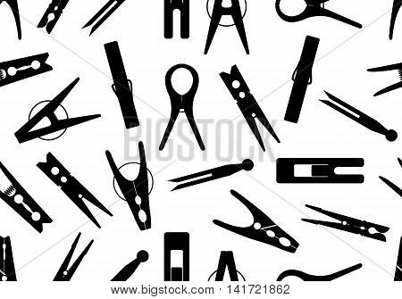 Seamless black clothespin background isolated on white