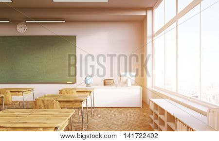 Classroom interior with shelves desks chalkboard and teacher's table. Concept of school system. 3d rendering. Mock up. Toned image