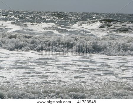Strong Waves coming to shore as the tides turn inward at Fernandina Beach