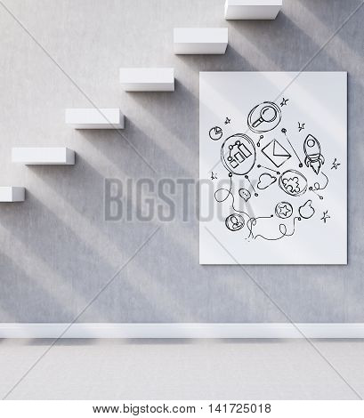 Side view of wall with concrete stairs and startup sketch on poster under it. Concept of successful business. 3d rendering