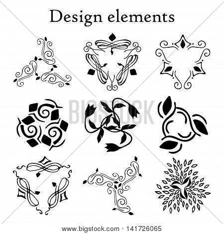 Design elements set, patterns, finials three-pointed. Vector. On a white background. Set of 9 calligraphic elements.