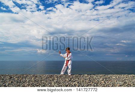 The boy training on the beach: Taekwondo sports