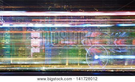 Creative look on Hong Kong island central quay with observation wheel during laser show from Victoria's harbour. Blurred glowing night abstract shot poster