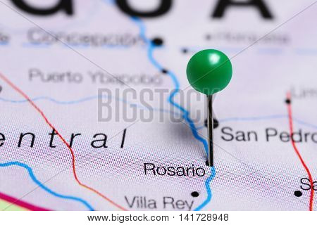 Rosario pinned on a map of Paraguay