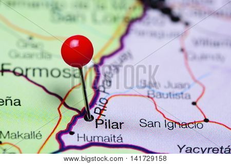 Pilar pinned on a map of Paraguay