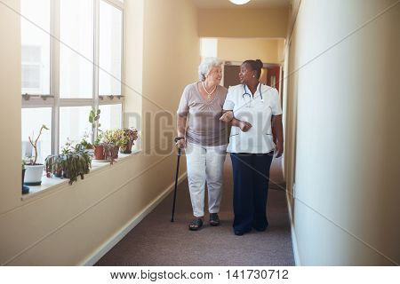 Healthcare Work Helping Female Patient.