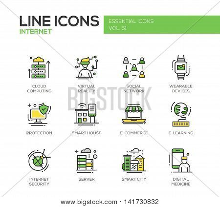 Internet - set of modern vector line design icons and pictograms. Cloud computing, virtual reality, social network, wearable devices, protection, smart house, e-commerce, e-learning, security, digital medicine