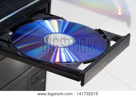 Colorful disc in player of a desktop computer