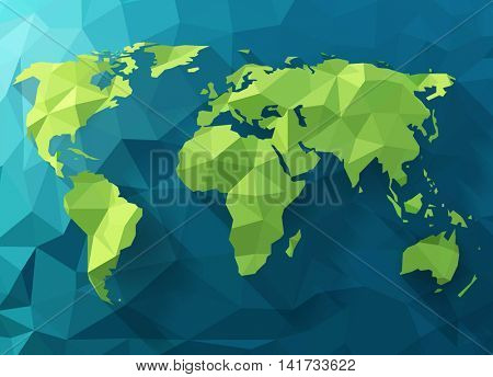 Vector polygonal world map. Low poly design. Origami planet illustration. Conceptual world illustration.