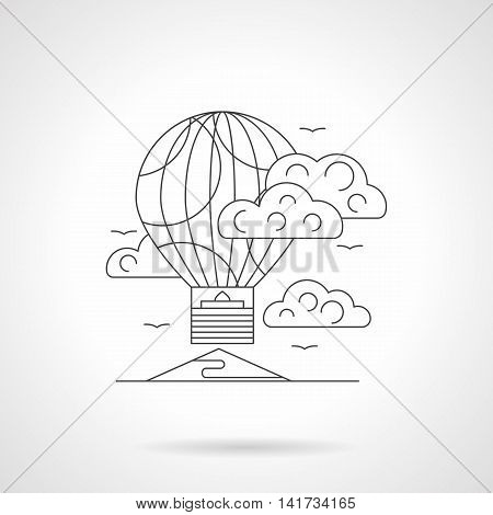 Abstract illustration of air transport. Travel by balloon in a sky with clouds. Unusual mode of transportation for fun, entertainment, festivals. Detailed flat line vector icon. Web design element.