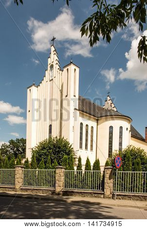 Basilica of the Virgin of Our Lady of La Salette in Debowiec in Poland. The Fathers Missionaries of La Salette