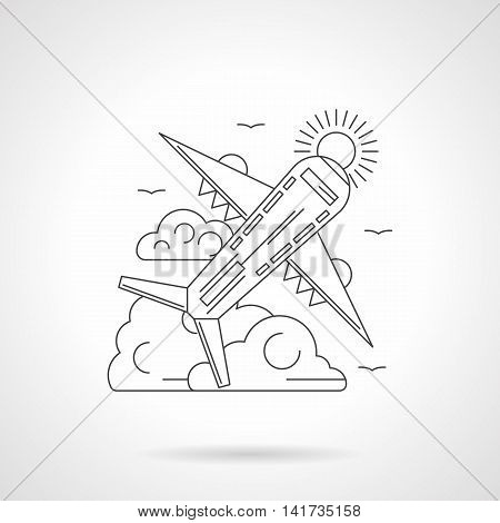 Abstract illustration of plane taking off with clouds and sun on a background. Passenger airliner. Travel and tourism, aviation and air transport. Detailed flat line vector icon. Web design element.