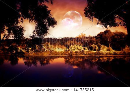 Night Forest And River