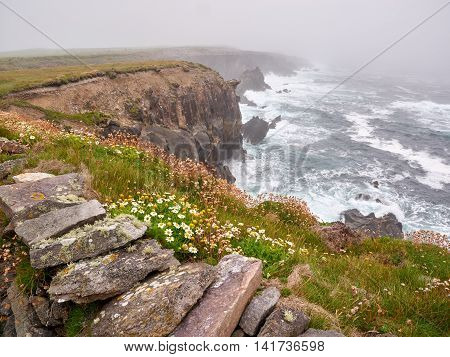 Foggy day at Clogher beach Dingle Ireland