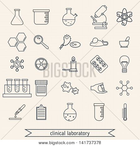 Medical and clinical laboratory thin line icons.