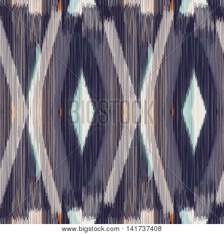 Dark seamless Ikat Pattern with rhombuses. Abstract background for textile design wallpaper surface textures wrapping paper.