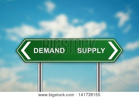 demand and supply on green road sign with blurred blue sky