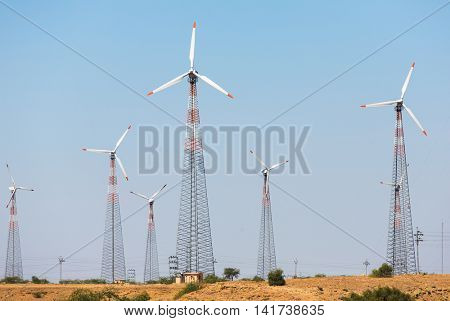 Windmills at Thar desert in Rajasthan, India