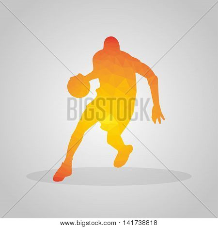 Basketball player in polygonal style on a gray background
