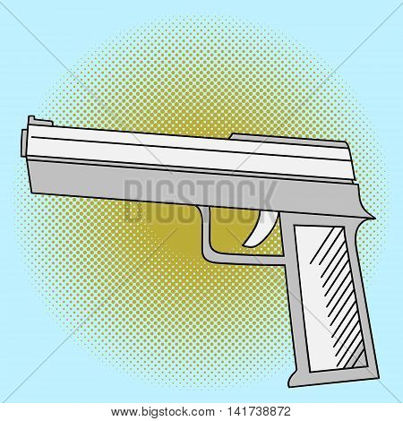 Pistol pop art vector. Beautiful comic style. Hand drawn weapon