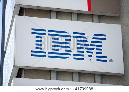 VILNIUS, LITHUANIA - AUGUST 7, 2016: IBM logo on the IBM Client Centre building. IBM is an American multinational technology and consulting corporation. IBM has 12 research laboratories worldwide.