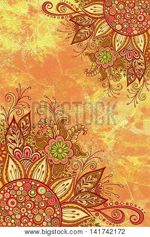 Floral Pattern, Symbolic Flowers and Leafs, Ornament on Colorful Hand-Draw Watercolor Painting Background
