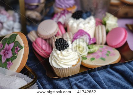 Delicious sweet buffet with cupcakes cakepops cookiies glasses and other desserts