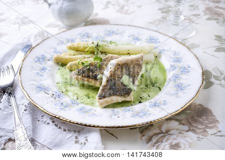 Zander Filet with White Asparagus on Plate