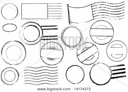 A set of blank postal marks and cancellations from the 1800s through the 1940s isolated on white. Ideal for bitmap brushes retro collages etc. poster