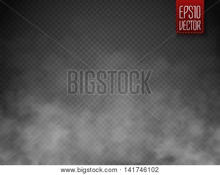 Fog or smoke isolated transparent special effect. White vector cloudiness mist or smog background. Magic template. Vector illustration
