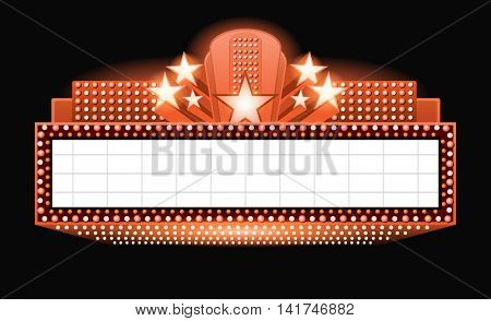 Vector theater with lights and stars banner copyspace