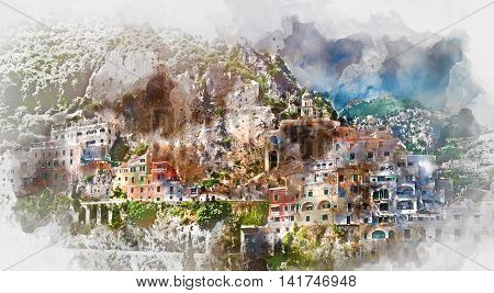 Digital watercolor painting of Amalfi. Amalfi is a charming peaceful resort town on the scenic Amalfi Coast of Italy.