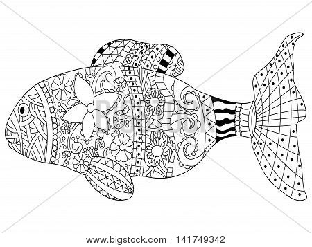Fish sea animal coloring book for adults vector illustration. Anti-stress coloring for adult. Zentangle style. Black and white lines. Lace pattern