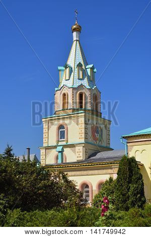 Typical masterpiece of old russian christianity eclecticism architecture in Dedilovo village founded in 1146 central region of Russia. Paraskeva Church. St. Paraskeva-Pyatnitsa monastery. Built in 1867