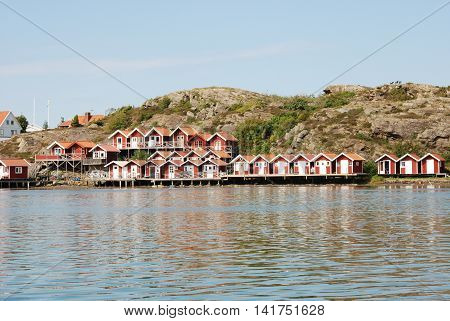 Boathouses in Sweden in summer, by the west coast