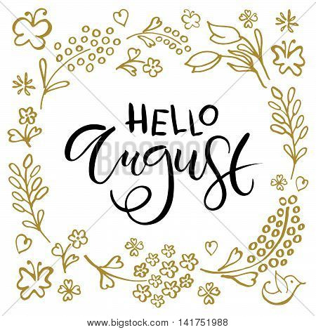 Hello August Postcard, Card, Invitation, Flyer, Banner Template.
