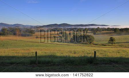 Rural landscape near Wauchope Australia. Morning scene.