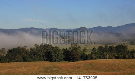 Rural landscape near Wauchope Australia. Fogy autumn morning.