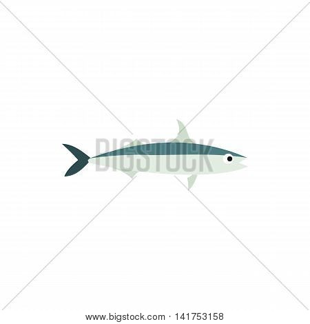 Saury fish icon in flat style on a white background