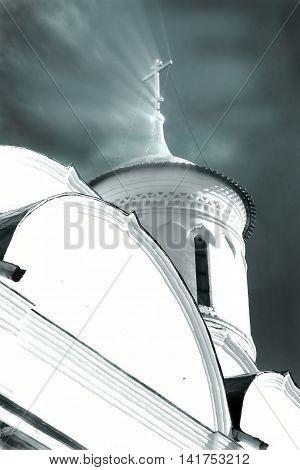 The Russian Orthodox Church in the Vologda, Russia. Monochrome image