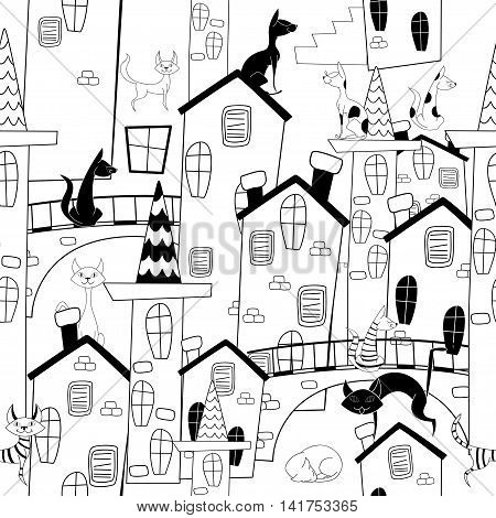 Cute monochrome cats on streets of old city. Cartoon vector seamless pattern.