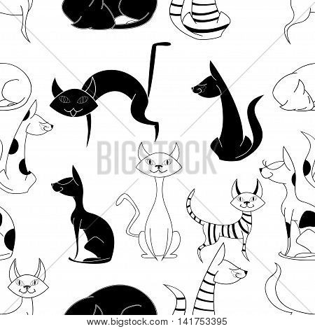 Seamless vector pattern with funny hand drawn cute cats. Vector