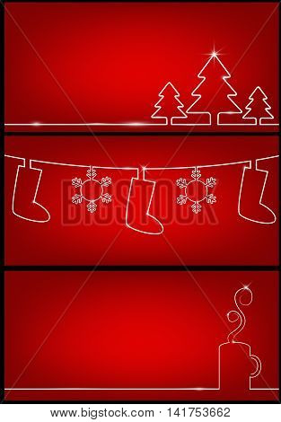 Three card design for new year with silhouettes of trees cups and socks. Vector