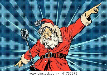 Santa Claus superstar singer on stage, pop art retro vector illustration. Holidays New year and Christmas. Concerts and parties