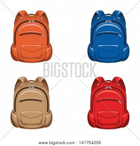 Set. vector illustration backpack on a white background.