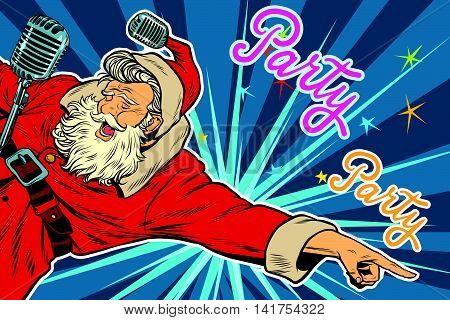Pop art invitation to a Christmas party, retro vector illustration. Santa Claus singer