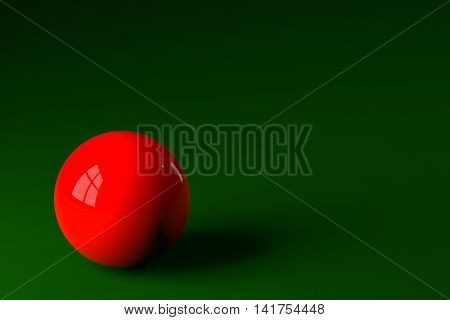 3D rendering of red snooker ball on snooker table.